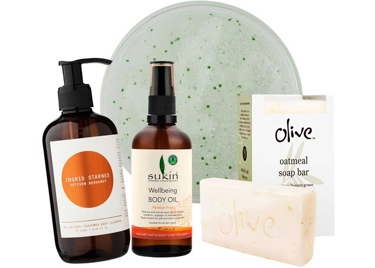 From left to right: Ingrid starnes body cleanser, $49. Sukin Wellbeing Body Oil, $24.50. Olive Oatmeal soap bar, $10.