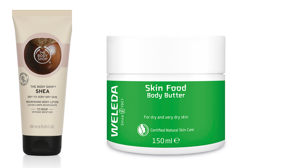 The Body Shop Shea Body Lotion and Weleda Skin Food Body Butter.jpg
