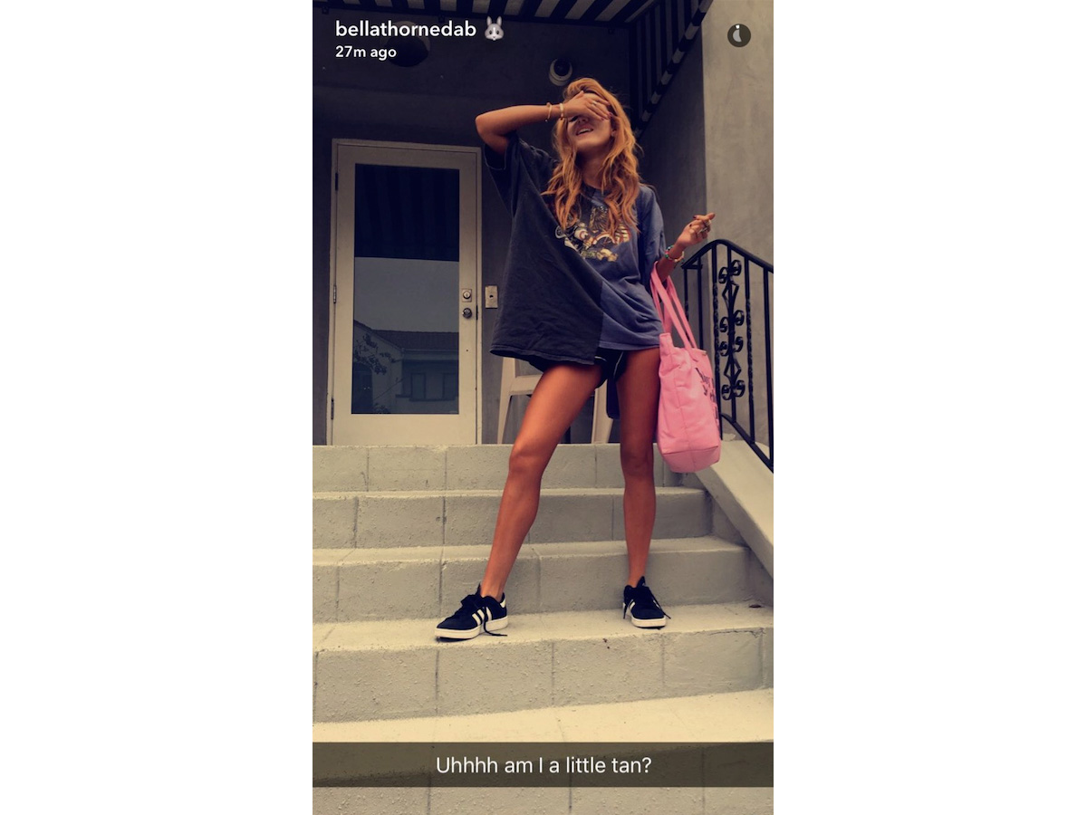 Bella Thorne Shares her Major Fake Tan Fail on Snapchat
