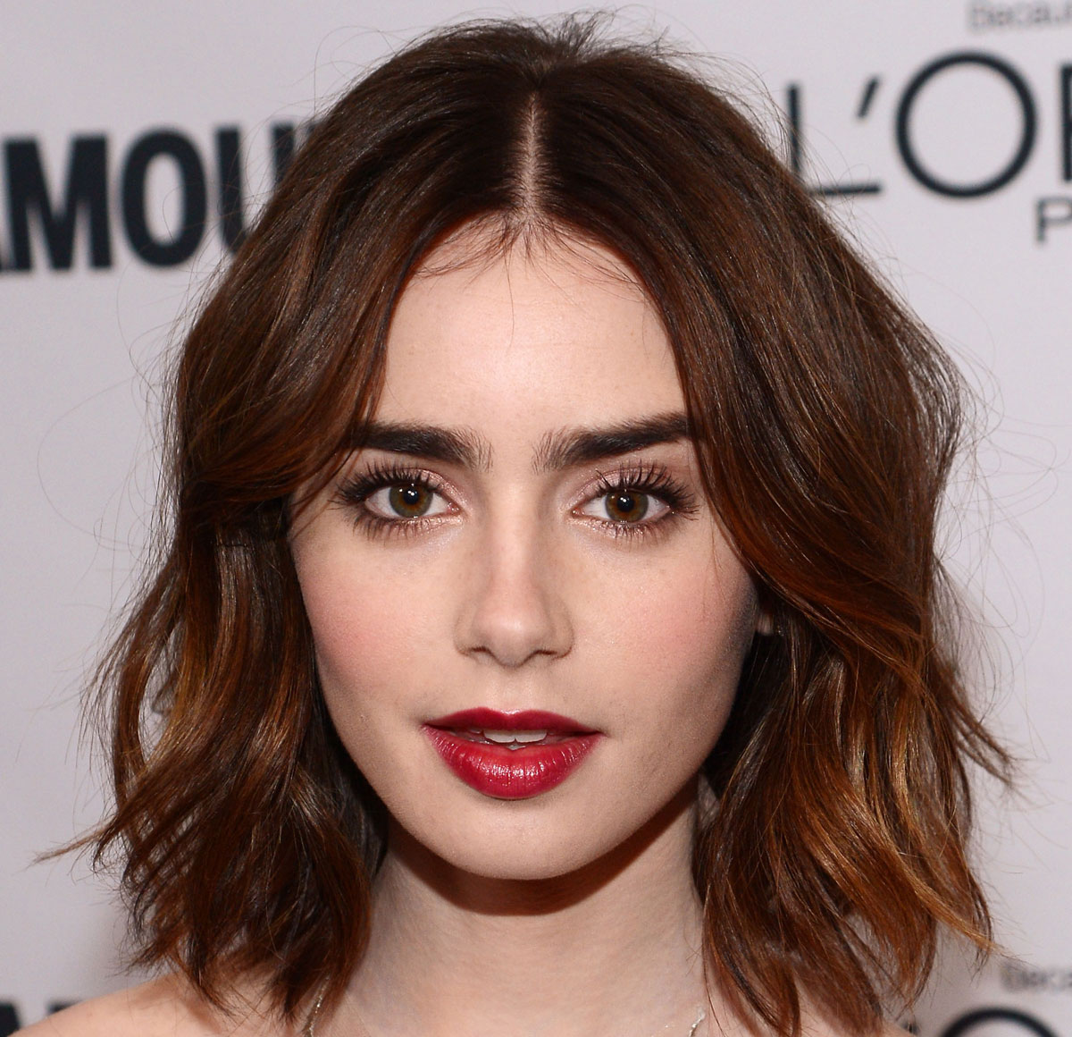 lily collins bold lip